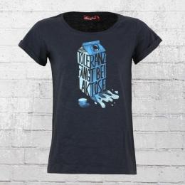 Derbe Hamburg Damen T-Shirt Laktose Toleranz blau