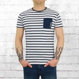 Derbe Hamburg Herren T-Shirt Brüker weiss blau gestreift