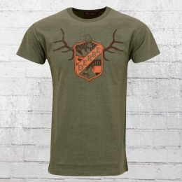 Derbe Hamburg Herren T-Shirt Deer olive meliert