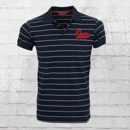 Derbe Hamburg Männer College Striped Polo Shirt navy blau