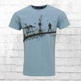 Derbe Hamburg Men T-Shirt Hafenschiffer blue shadow marl
