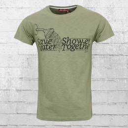 Derbe Männer T-Shirt Save Water Shower Together oliv grün