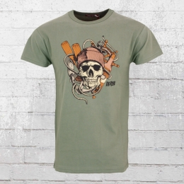 Derbe Männer T-Shirt Seemann Skull oliv grün