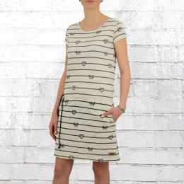 Derbe Mini Kleid Break Rope grau beige melange