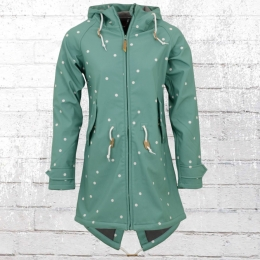 Derbe Softshell Jacke Island Friese Dots türkis weiss gepunktet