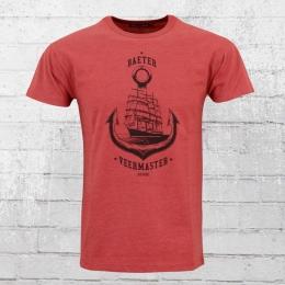Derbe T-Shirt Männer Veermaster rot meliert