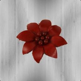 Edelweiss Echt-Leder Blume Anstecker  rot