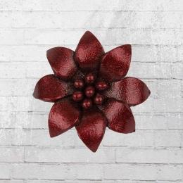 Edelweiss Anstecker Echt-Leder Blume dunkelrot