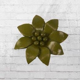 Edelweiss Echt-Leder Anstecker Blume oliv