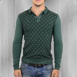 Ato Berlin Longsleeve Polo Shirt Enne grün grau