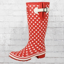 Evercreatures Damen Gummistiefel Polka Dots Wellies rot weiss