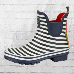 Evercreatures Kurze Gummistiefel Bristol Meadow blau weiss gestreift