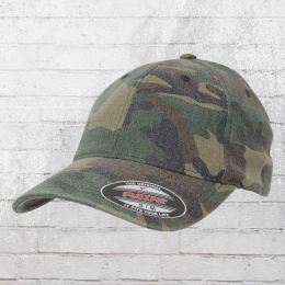 Flexfit Cap Blanko Garment Washed Camo Hat woodland