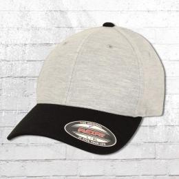 Flexfit Kappe Double Jersey 2 Tone Cap Blanko grau schwarz