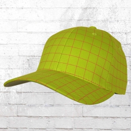 Flexfit Squareline Karo Cap lime magenta Mütze Kappe Schirmmütze