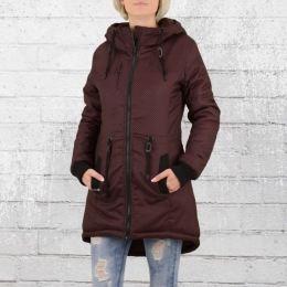 Goodness Industries Damen Winter Mantel 442 schwarz rot