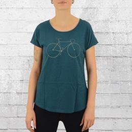 Greenbomb Damen Fahrrad T-Shirt Bike Line petrol blau