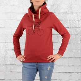 Greenbomb Frauen Kapuzensweater Bike Sausage Dog rot
