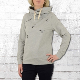 Greenbomb Damen Kapuzenpullover Animal Flying Birds grau