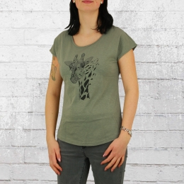 Greenbomb Damen T-Shirt Animal Giraffe oliv
