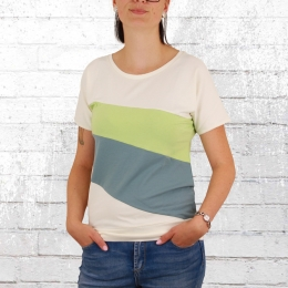 Greenbomb Damen T-Shirt Basic Brave Mix weiss grün blau