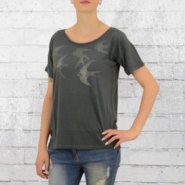 Greenbomb Damen T-Shirt Swallow Sky Bio Baumwolle grau