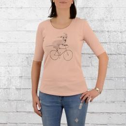 Greenbomb Fahrrad Frauen T-Shirt Bike Sausage Dog rosa