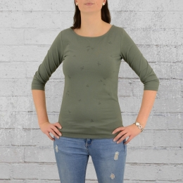 Greenbomb Frauen Longsleeve Shirt Animal Free Birds olivgrün