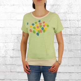 Greenbomb Frauen T-Shirt Bike Balloon grün gestreift