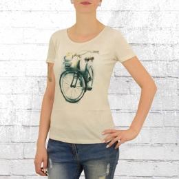 Greenbomb Frauen Fahrrad T-Shirt Birdie Bike vintage weiss