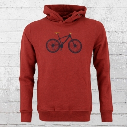 Greenbomb Herren Kapuzensweater Mountain Bike rot meliert