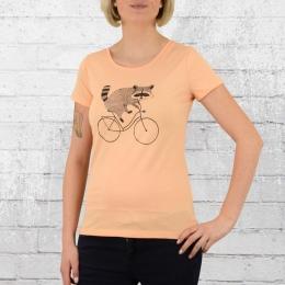 Greenbomb Waschbär Fahrrad T-Shirt Damen Bike Raccoon pfirsch