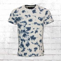 Indicode Herren Batik T-Shirt Madrid weiss blau