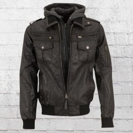 Indicode Mens Artificial Leather Jacket black