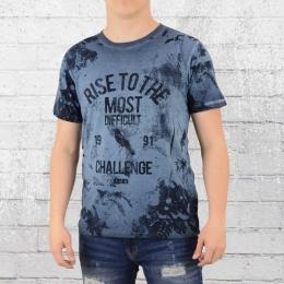 Indicode Herren Vintage T-Shirt Valdor blau