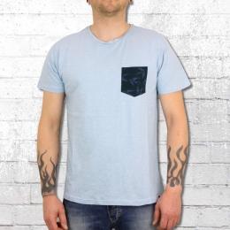 Indicode Männer T-Shirt Mit Brusttasche Blaine himmelblau