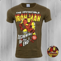 Logoshirt Männer T-Shirt Marvel Iron Man olive