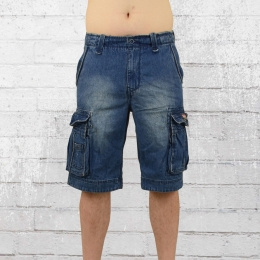 Jet Lag Männer Cargo Jeans Short Take Off 8 blau