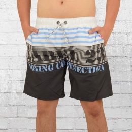 Label 23 Bade Short Beach Badehose weiss blau grau
