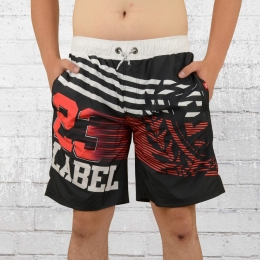 Label 23 Badehose Fire Free Bade Shorts weiss rot schwarz
