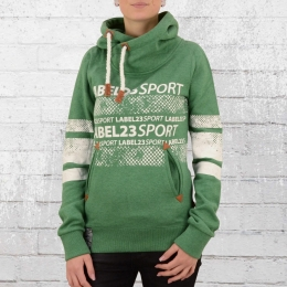 Label 23 Damen Kapuzensweater Label Sports grün meliert