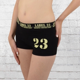 Label 23 Damen Sport Short Gym Panty schwarz beige