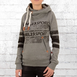 Label 23 Frauen Kapuzensweater Label Sports grau melange