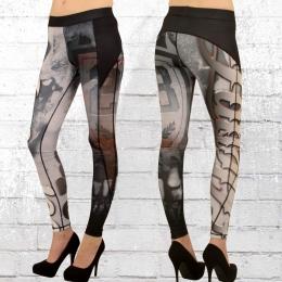 Label 23 Frauen Leggings Freestyle schwarz weiss Print