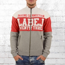 Label 23 Mens Sweat Jacket Training Day white red grey