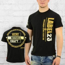 Label 23 Männer T-Shirt Herz Muskel Kraft schwarz