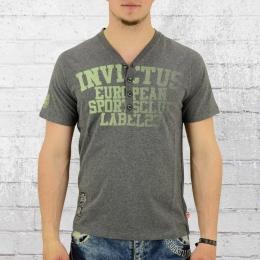 Label 23 Männer T-Shirt Knopfleiste Invictus grau meliert