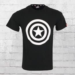 Left Side Marvel Männer T-Shirt Captain America Avengers Assemble schwarz
