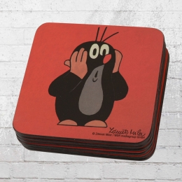 Logoshirt  6er Pack Untersetzer Der kleine Maulwurf Coaster rot