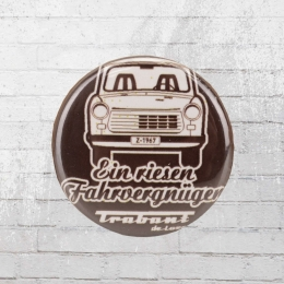 Logoshirt Button Trabant Fahrvergnügen dunkelbraun